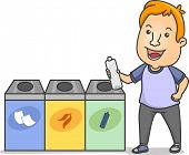 stock photo of segregation  - Illustration of a Man Holding a Water Bottle Standing Beside Waste Segregation Bins - JPG