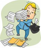 Illustration of an Office Guy Struggling with Carrying a Large Stack of Paper