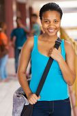 gorgeous female african american high school student on campus
