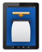 tablet computer with atm blank bill