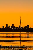 Auckland City Sunrise Sillhouette