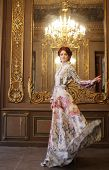stock photo of manor  - Romantic portrait of young beautiful lady - JPG