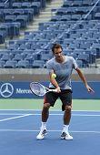 Seventeen times Grand Slam champion Roger Federer practices for US Open 2013