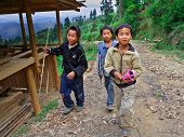 Three Rural Adolescents Aged 12 Years And Stroll Around The Neighborhood Of The Village, Basha Miao