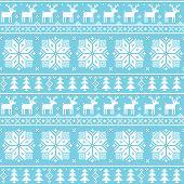 Christman nordic seamless pattern - deer, snowflakes and trees
