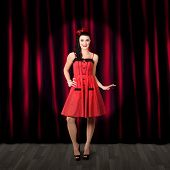 Dancing Woman Wearing Retro Rockabilly Dress