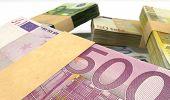 Euro Notes Bundles Stack Extreme Closeup