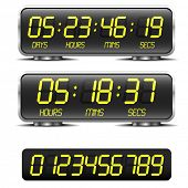 detailed illustration of a digital countdown timer with LED-Digits