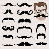 image of geek  - Vector set of hipster and retro mustaches - JPG