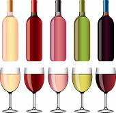 wine and wineglasses vector set
