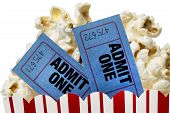 Popcorn With Blue Movie Tickets Close Up