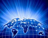 Blue vivid image of globe. Globalization concept