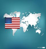 American Flag and world map. Vector illustration.