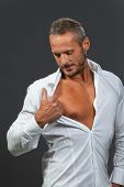 image of open shirt breast showing  - white shirt on a manly man isolated - JPG