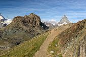 Trail at Riffelhorn with Matterhorn, Zermatt, Alps, Switzerland