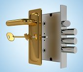 Door lock with key on blue background
