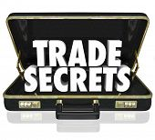 picture of trade  - The words Trade Secrets in an opening black leather briefcase to illustrate proprietary information or intellectual property - JPG