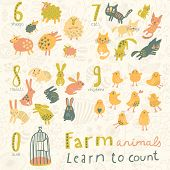 Постер, плакат: Farm animals Learn to count part one 6 sheep 7 cats 8 rabbits 9 chickens 0 birds Funny carto