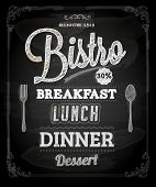 Bistro Chalkboard Poster, vector illustration for vintage design