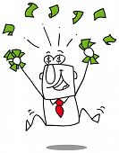 Earn money. Very happy man under a rain of cash