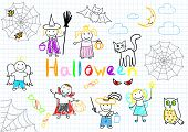 Halloween. Vector sketches happy children's. Sketch on notebook page