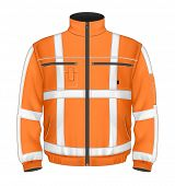 Photo-realistic vector illustration. Men's reflective safety jacket orange (front view). Illustratio