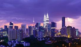 picture of petronas towers  - Kuala Lumpur skyline at night - JPG