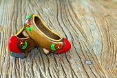 Traditional Turkish Clog With Atractive Style And Colorful On A Wooden Table