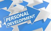 picture of self assessment  - Personal Development 3d render concept with blue and white arrows flying upwards over a white background - JPG