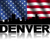 Denver skyline and text reflected with rippled American flag illustration