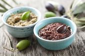 image of kalamata olives  - bowls with fresh olive paste made from kalamata olives - JPG