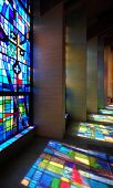 Stained glass window and reflections