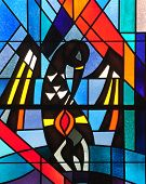 Stained glass window depicting a pelican