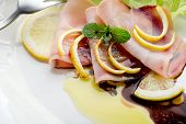 picture of swordfish  - swordfish carpaccio with green salad  - JPG