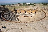 Ruins of theater in ancient Hierapolis, now Pamukkale, Turkey
