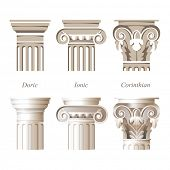 foto of ionic  - stylized and realistic columns in different styles  - JPG