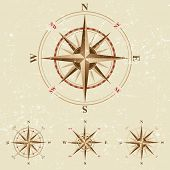 4 compasses icons in vintage style
