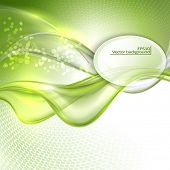 pic of oval  - Abstract green waving background with oval place for text - JPG