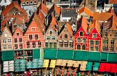 Aerial View Of Colorful Square And Houses In Bruges
