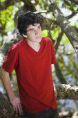 Portrait Of Teen Boy In Woods