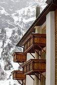 Wooden balconies in winter