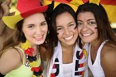 Cheerful group of German women soccer or football sport fans.