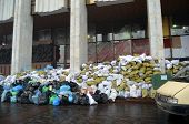 KIEV, UKRAINE - FEB 10, 2014: Downtown of Kiev. Riot in Kiev and Western  Ukraine.February 10, 2014 Kiev, Ukraine