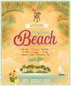 stock photo of tiki  - Vintage Beach Bar poster - JPG