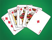 picture of flush  - Royal Flush of Diamonds on green background - JPG