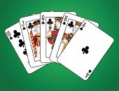 Royal Flush of Clubs on green background. The figures are original design.
