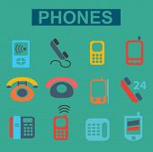 flat phones icons set, vector