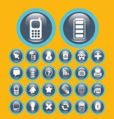 flat communication media buttons set, vector