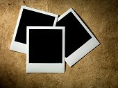 Polaroid Film Vintage empty photo cards on paper background