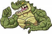 Alligator mascot clip art. Vector cartoon illustration. All in a single layer.